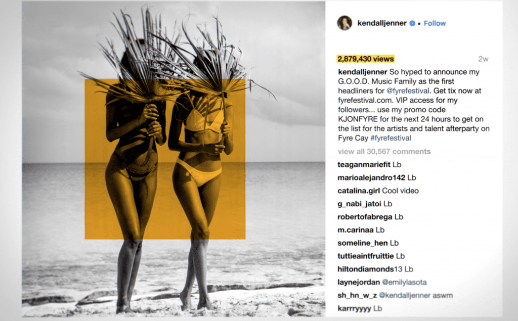 Kylie Jenner's Instagram post as a Fyre Festival influencer. | Power of Social Media | The Radiance Mindset | theradiancemindset.com