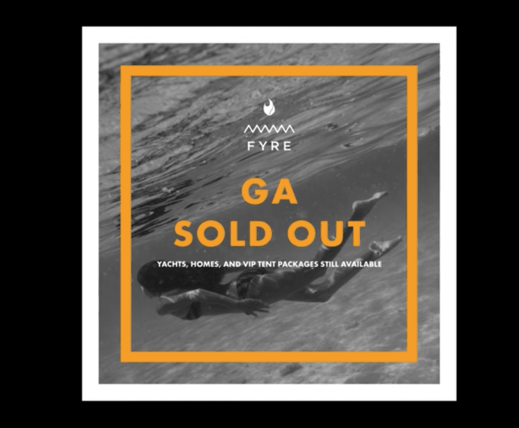 Sold Out Image of Fyre Festival | The Radiance Mindset | theradiancemindset.com