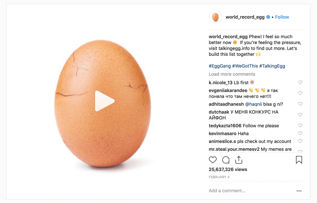 Image of the final Egg post on Instagram, links to the video | Power of Social Media | The Radiance Mindset | theradiancemindset.com