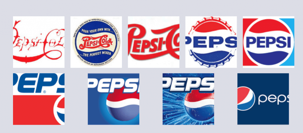 Just brand yourself already! An image showing the evolution of the logo for Pepsi | The Radiance Mindset | www.theradiancemindset.com