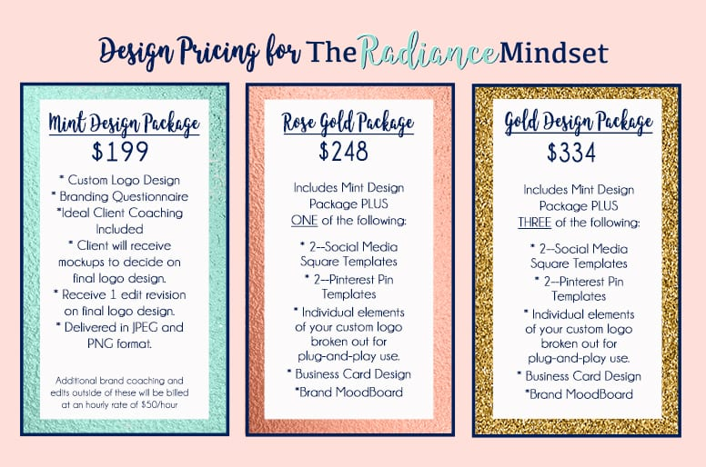 Graphic Design Pricing for The Radiance Mindset | www.theradiancemindset.com