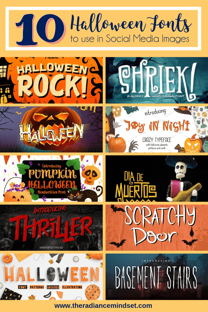 Halloween Fonts | The Radiance Mindset | www.theradiancemindset.com